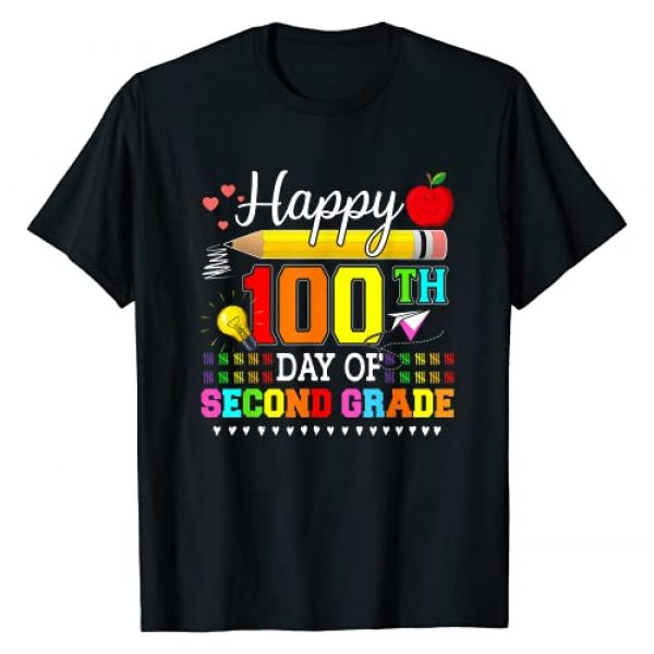 Happy 100 Days of School Gift Tee Graphic Tshirt 1 Happy 100th Day Of Second Grade Cute 100 Days Gift T-Shirt