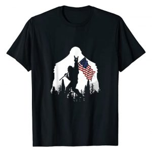 Bigfoot Rock Graphic Tshirt 1 And Roll Silhouette American Flag T-Shirt