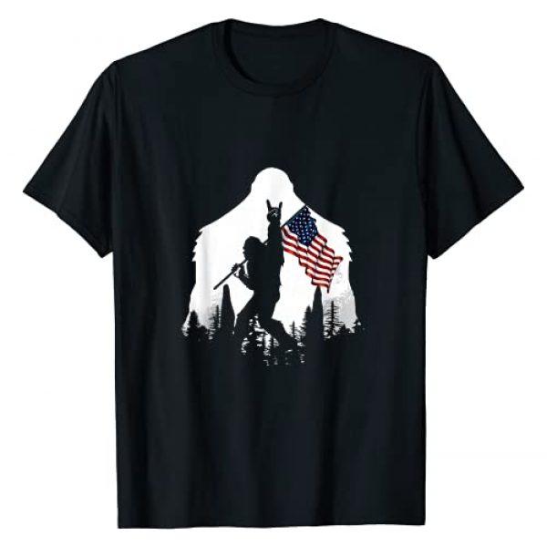 Bigfoot Rock Graphic Tshirt 1 And Roll Silhouette American Flag T-Shirt