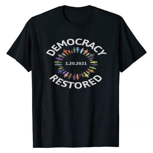 Best Funniest Election Products Pro Biden Harris Graphic Tshirt 1 1.20.2021 DEMOCRACY RED BIDEN HARRIS INAUGURATION T-Shirt