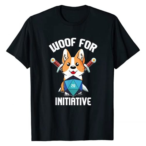Caverns and Critters by Dungeon Loot Armory Graphic Tshirt 1 Woof for Initiative Funny Corgi D20 RPG Dungeons and Dogs T-Shirt