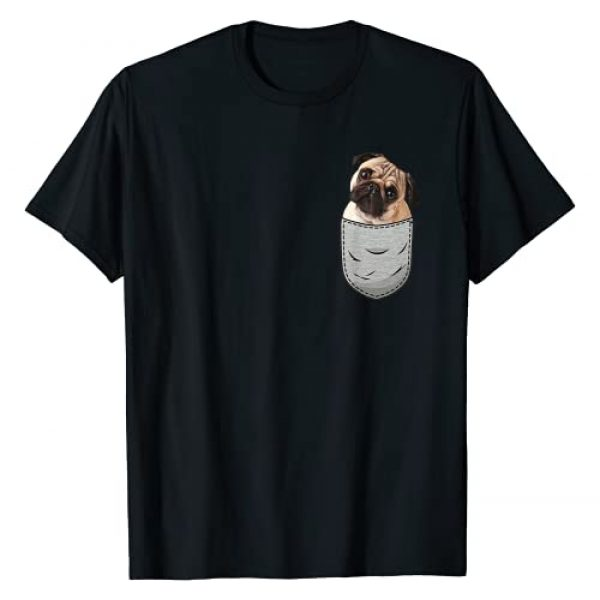 Pug Dogs Designs Gifts Breast Pocket Dog Lovers Graphic Tshirt 1 Pug Carlin Carlino Mops Chest Pocket Dog Lover & Owner T-Shirt