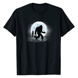 Funny Bigfoot Tees Graphic Tshirt 1 Bigfoot Fishing Funny Sasquatch and Fish Night Fishing T-Shirt