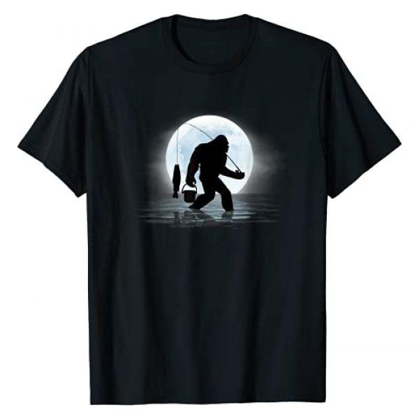 Funny Bigfoot Tees Graphic Tshirt 1 Bigfoot Fishing Funny Sasquatch and Fish Night Fishing T-Shirt