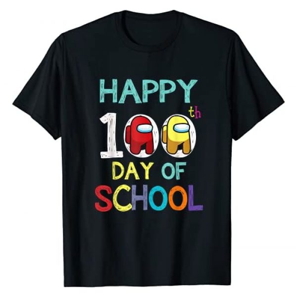 Happy 100 Days Of School Graphic Tshirt 1 A-mong With Us For Kids Game Lover T-Shirt