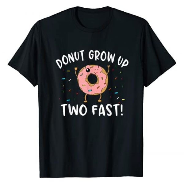 Funny Donut Birthday Theme Outfit for Two Year Old Graphic Tshirt 1 Donut Grow Up Two Fast Funny 2nd Birthday Pun Quote Meme T-Shirt