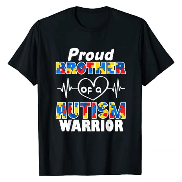 Autism Awareness Family Matching Apparel Gifts Graphic Tshirt 1 Autism Awareness Gifts Proud Brother Of A Autism Warrior T-Shirt