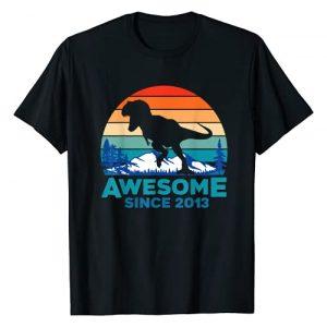 8th Birthday Shirt Dinosaur Gift Graphic Tshirt 1 Awesome Since 2013 T-Shirt 8 Years Old Dinosaur Gift T-Shirt