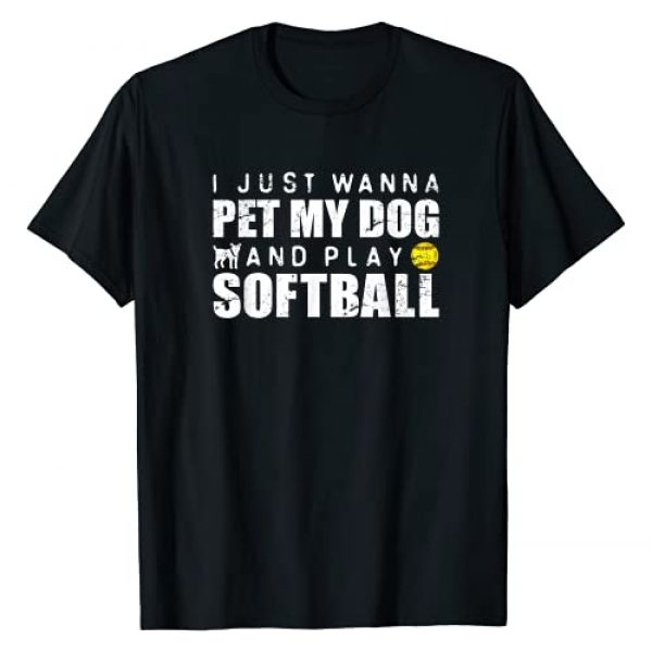Girls Fastpitch Softball Apparel Graphic Tshirt 1 Funny Girls Softball Puppy Dog Lover Gift T-Shirt