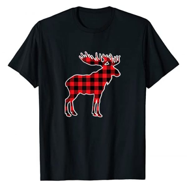 BRUMOO - Family Gift Graphic Tshirt 1 Moose Red Buffalo Plaid Matching Pajama Family Gift T-Shirt