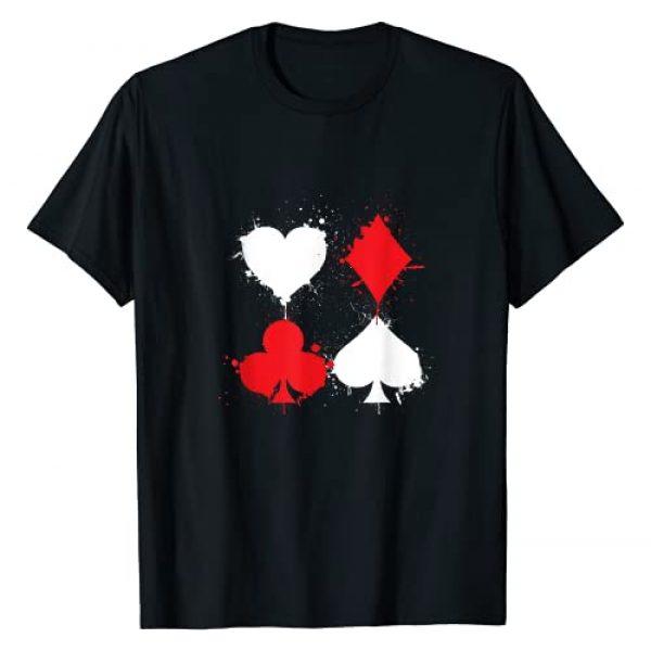 Distressed Playing Card Symbols Tees & Gifts Graphic Tshirt 1 Playing Cards Poker Heart Spade Diamond Club T-Shirt