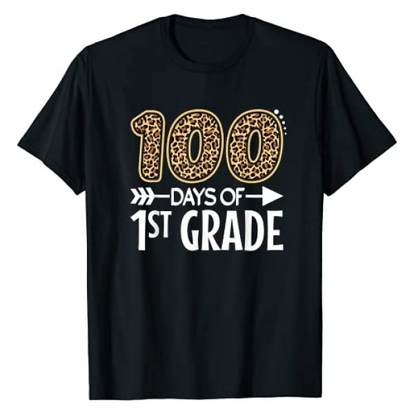 Happy 100th day of school Leopard Print Kids Adult Graphic Tshirt 1 100 Days Of First Grade Teacher Student 100th Day Of School T-Shirt