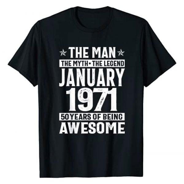 Vintage 50th Birthday Shirt 50 Years Old T Shirt Graphic Tshirt 1 Legends Were Born In January 1971 50th Quarantine Birthday T-Shirt
