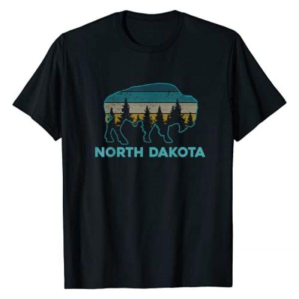 North Dakota Vintage Souvenirs & Gifts Graphic Tshirt 1 North Dakota Bison Vintage American Buffalo Souvenir Gift T-Shirt