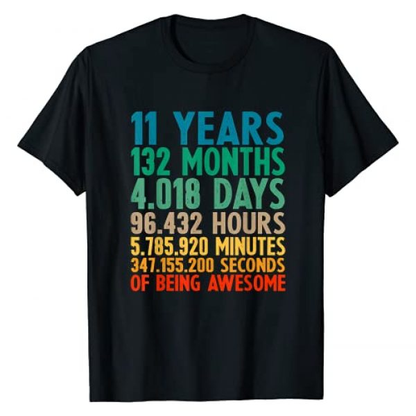 11th Birthday Gift 11 Years Old Clothing Boy Girl Graphic Tshirt 1 Vintage 11th Birthday Tee Gift 11 Years Old Being Awesome T-Shirt