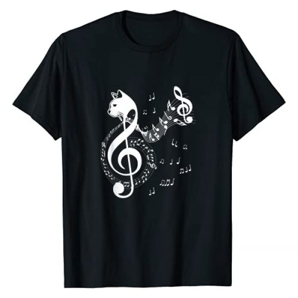 Cat Lover Music Gifts Graphic Tshirt 1 Music & Cats Lover Treble Clef Funny Cat Music Notes T-Shirt