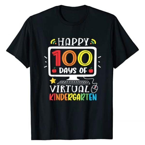 100 Days Funny Gifts Kindergarten Graphic Tshirt 1 Kindergarten 100 Days School Of Virtual Home 100th Boy Girl T-Shirt