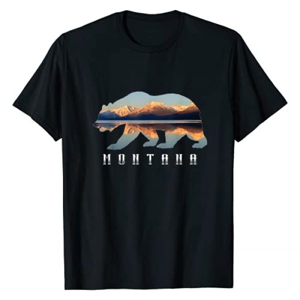 Montana National Park Landscape Shirts & Gifts Graphic Tshirt 1 Montana Bear with Glacier National Park Lake Image Souvenir T-Shirt