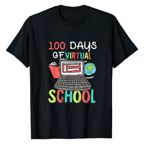 VepaDesigns 100 Days Of School Graphic Tshirt 1 100 Days Of School Virtual Learning Distance Quarantine Gift T-Shirt