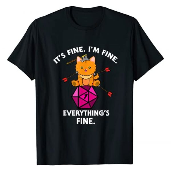 D20 Dice Tabletop Gamer Graphic Tshirt 1 Its Fine Im Fine Everythings Fine Funny D20 Fail Dungeon Cat T-Shirt