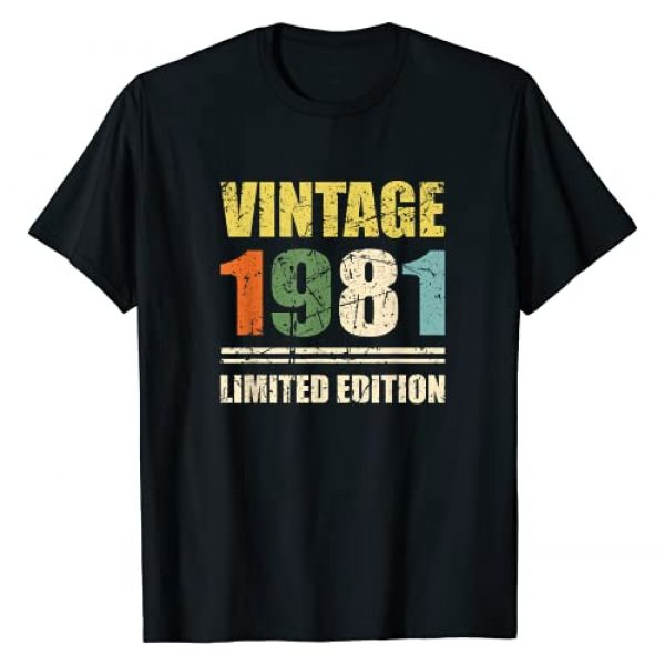 40th Birthday Gifts Vintage 1981 Limited Edition Graphic Tshirt 1 Vintage 1981 40th Birthday 40 Years Old Retro Gift T-Shirt