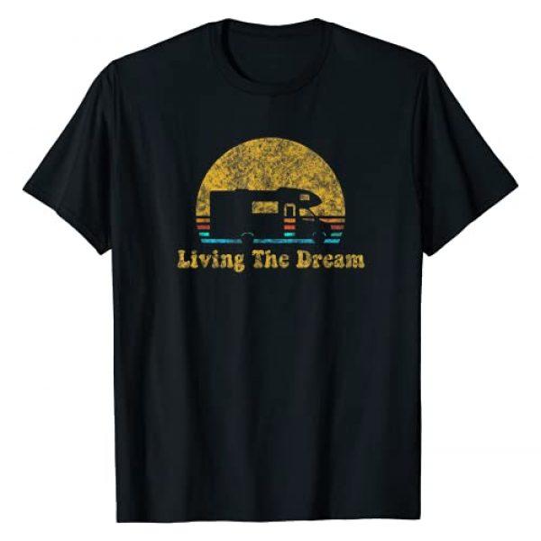 Living the Dream Streetwear Graphic Tshirt 1 Retro Sunset RV Living The Dream Camping Gift T-Shirt
