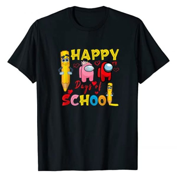 100th Day Of School Cute Pink Among Game Lover Graphic Tshirt 1 Happy 100th Day Of School Among With Us For Kids Game Lover T-Shirt