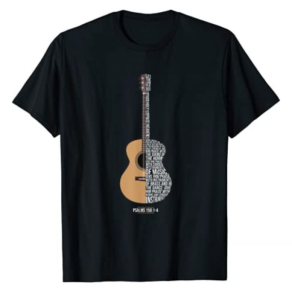 Guitar Christian Gifts - Faithfull Guitar lovers Graphic Tshirt 1 Praise him with strings -Psalm 150- Acoustic Guitar Player T-Shirt