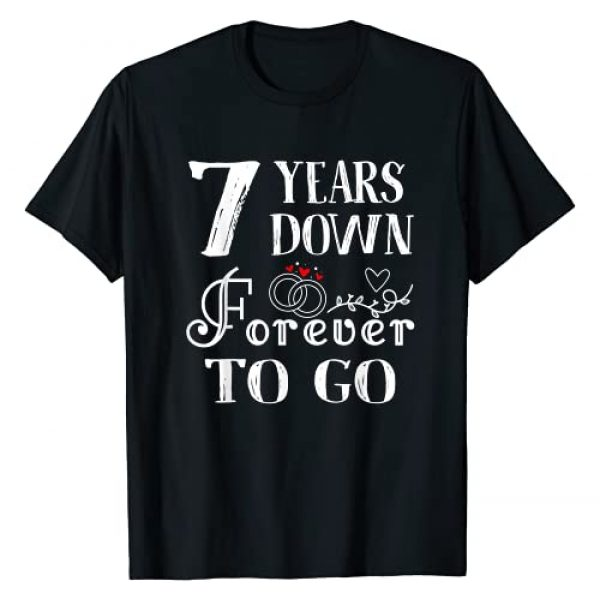 Couple 7th Wedding Anniversary Gift Outfits Co. Graphic Tshirt 1 7 Years Down Forever to Go Couple 7th Wedding Anniversary T-Shirt