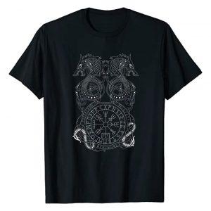 Norse Mythology Vikings Runes Symbols Gift Ideas Graphic Tshirt 1 Nordic Viking Dragon Compass Vegvisir Rune Nordic Symbol T-Shirt