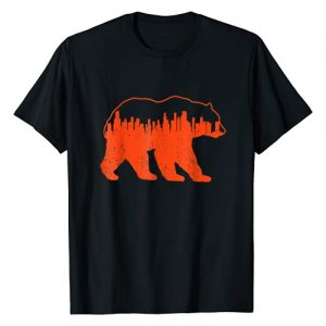 Downtown Chicago City Skyline Walking-Bear T-Shirt Graphic Tshirt 1 Vintage Downtown Chicago City Skyline Walking-Bear Novelty T-Shirt