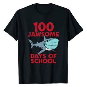 BoredKoalas 100th Day Of School Shirts Costume Graphic Tshirt 1 100 Jawsome Days School Shark Mask 100th Day Quarantine Gift T-Shirt