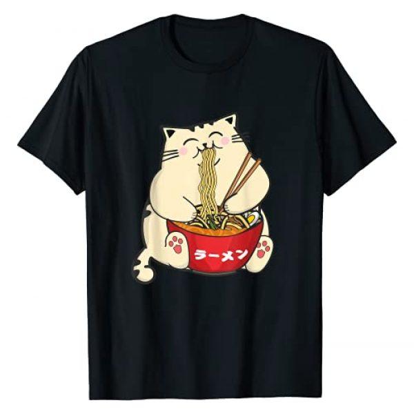 Kawaii Cat With Ramen Cute Anime Fan Gifts Graphic Tshirt 1 Ramen Cat Kawaii Anime Noodles Hashi Japanese Manga Lover T-Shirt