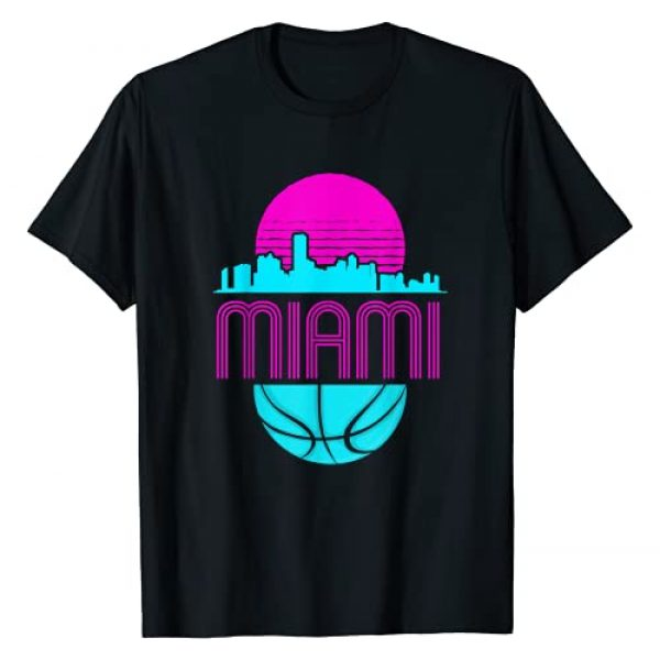 The Vintage Miami Florida Cityscape Clothing Co Graphic Tshirt 1 Vintage Miami Florida Cityscape Retro Basketball T-Shirt