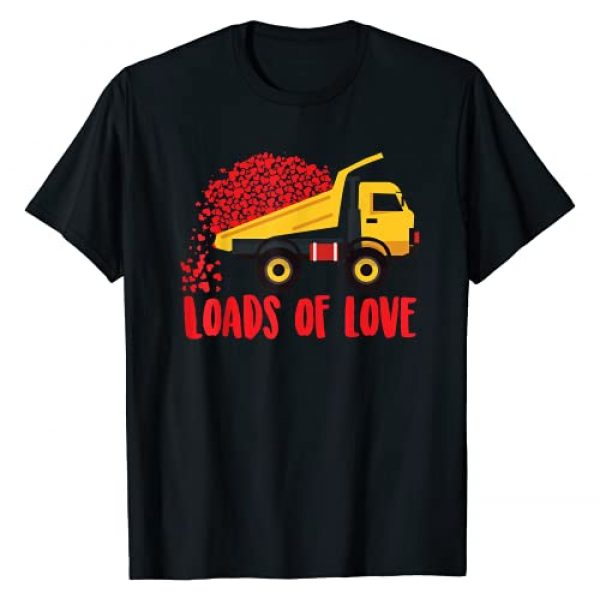 Cute Lover Truck Hearts Valentine's Day Tractors Graphic Tshirt 1 Loads Of Love | Cool Construction Funny Boy Girl Kids Gift T-Shirt