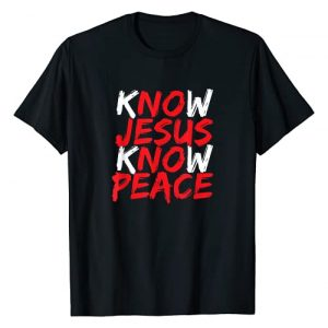 Christian Biblical Scripture Gifts Graphic Tshirt 1 Christian Jesus Bible Verse Scripture Know Jesus Know Peace T-Shirt