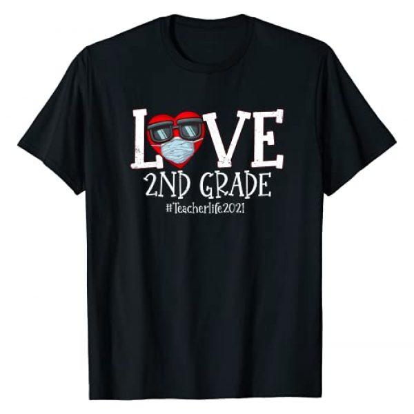 Valentines day Teacher Life By MNSONAAR Graphic Tshirt 1 Love 2nd Grade Teacher Life 2021 Happy Valentines Day Heart T-Shirt