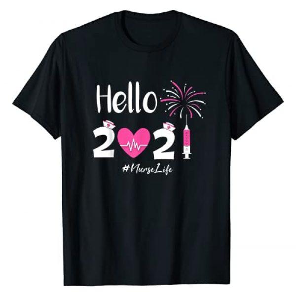Nurse crew funny New year matching Graphic Tshirt 1 Hello 2021 Nurse Life Funny Nursing New Year Eve Nurse Crew T-Shirt