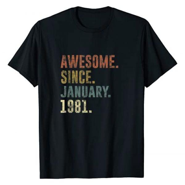 Awesome Retro Vintage Graphic Tshirt 1 40th Retro Birthday Gift Vintage Awesome Since January 1981 T-Shirt