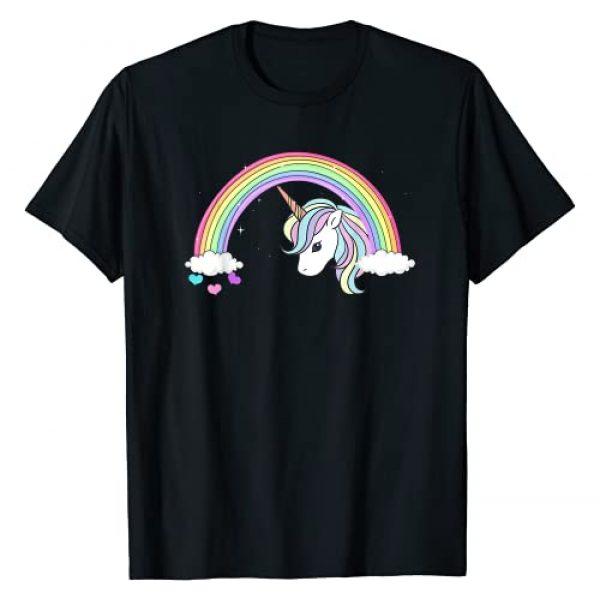 Unicorn Sparkle Rainbow Graphic Tshirt 1 Unicorn Rainbow with Sparkles and Hearts no words wording T-Shirt