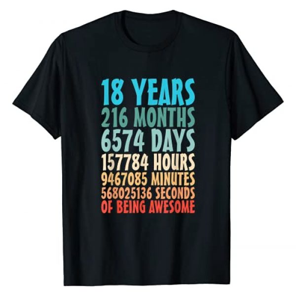 Turning 18 Af Official Adult 18th Bday Gift Idea Graphic Tshirt 1 18 Years Of Being Awesome 18 Yr Old 18th Birthday Countdown T-Shirt