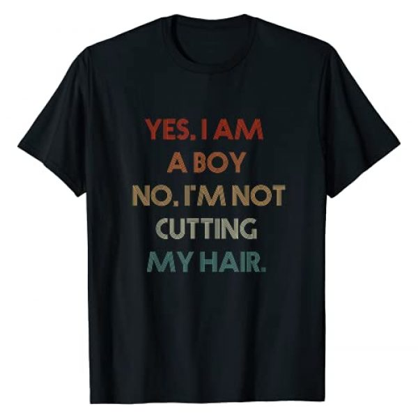 VintageTeeLover Graphic Tshirt 1 Yes, I Am A Boy No, I'm Not Cutting My Long Hair T-Shirt