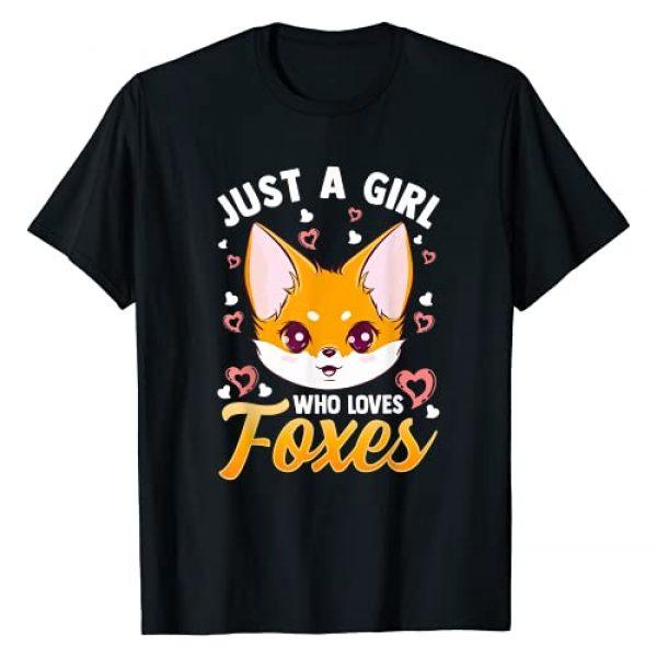Cute Fox Love Design Co. Graphic Tshirt 1 Just A Girl Who Loves Foxes Kids Girls Cute Fox Gift Mom T-Shirt
