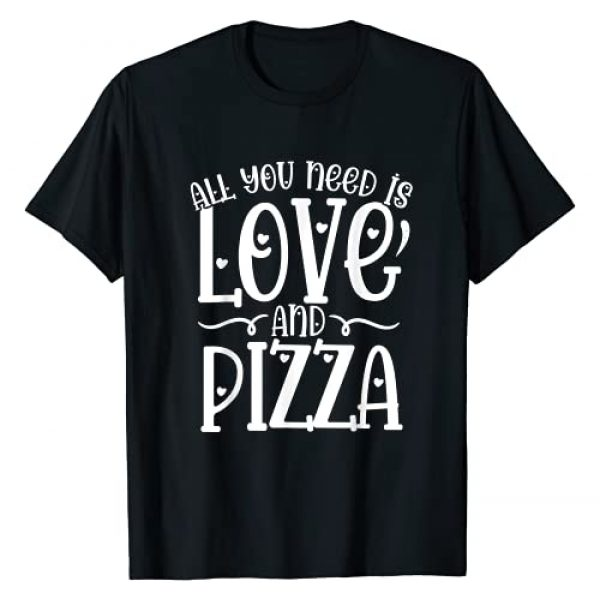 AKBH Designs Valentine's Day Graphic Tshirt 1 All You Need is Love and Pizza Funny Valentine's Day T-Shirt