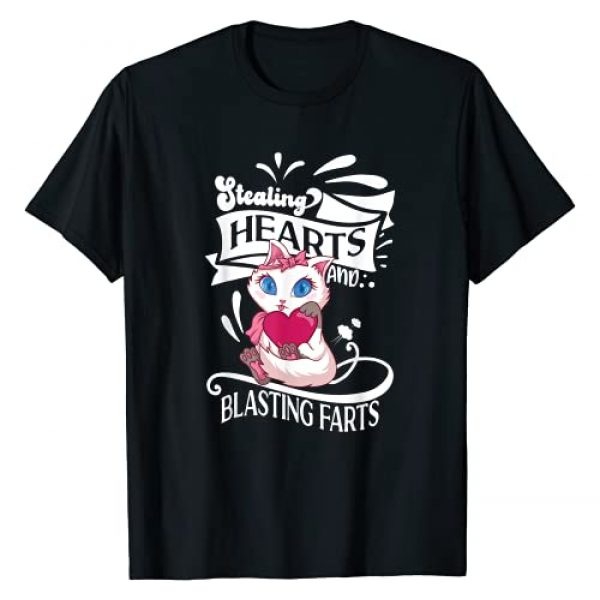 Stealing Hearts & Blasting Farts Valentine's Day Graphic Tshirt 1 Stealing Hearts And Blasting Farts Funny Saying Gifts Cat T-Shirt