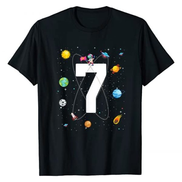 outer space theme party Birthday Gifts Graphic Tshirt 1 Birthday 7 Outer Space 7th Birthday 7 years old Boys Kids T-Shirt