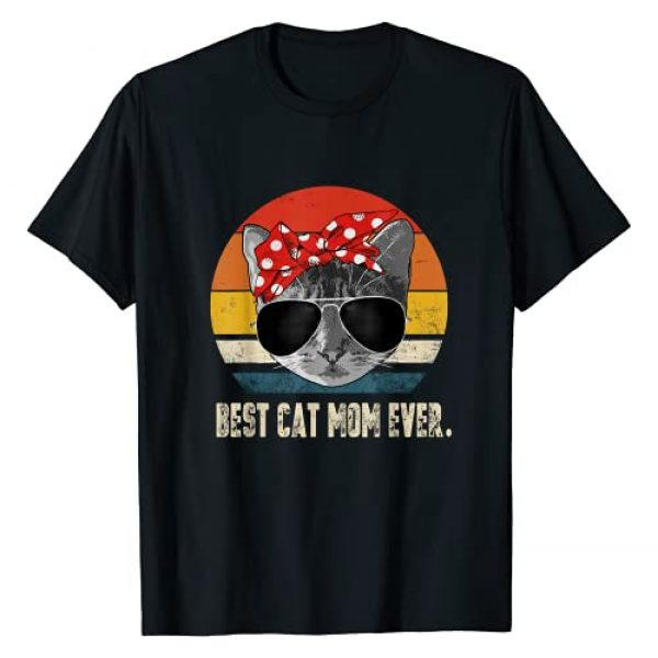 Best Cat Mom Ever BW T-Shirts Graphic Tshirt 1 Best Cat Mom Ever Vintage Retro Cat Mommy Cat Mother T-Shirt