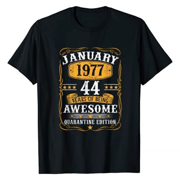 Vintage Janurary 1977 44Th Birthday Shirt 44 Yea Graphic Tshirt 1 Born January 1977 Birthday Gift Made In 1977 44 Years Old T-Shirt