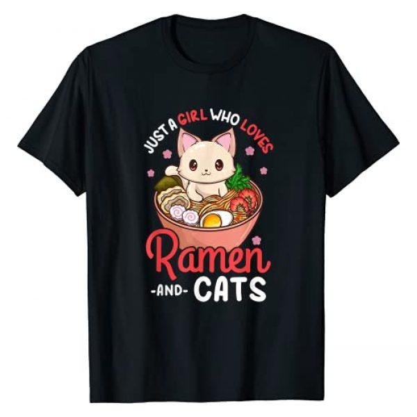 Kawaii Anime Gifts for Birthdays and Christmas Graphic Tshirt 1 Ramen Cat Neko Anime Kawaii Otaku Girl T-Shirt