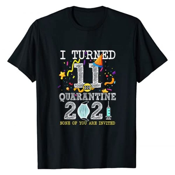 11 Years Old Birthday Social Distancing Party Graphic Tshirt 1 I Turned 11 in Quarantine Cute 11st Birthday 2021 Gift T-Shirt